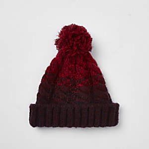 Red cable knit bobble beanie hat
