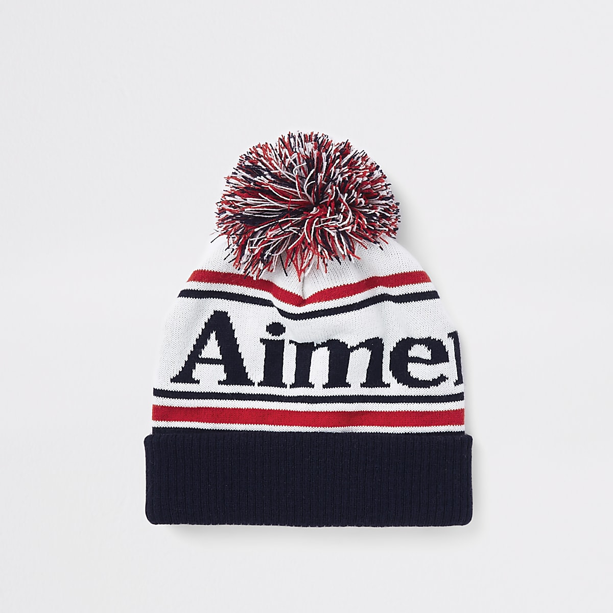 92fe6c55933d White 'aimer la vie' bobble beanie hat - Hats / Caps - Accessories - men