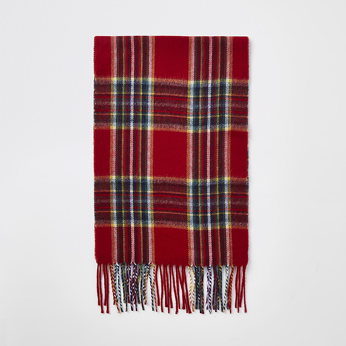 Red tartan check scarf