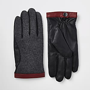 Grey mixed fabric driving gloves