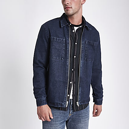 Blue denim shacket
