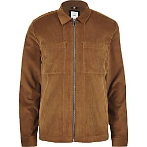Big and Tall tan cord zip up overshirt