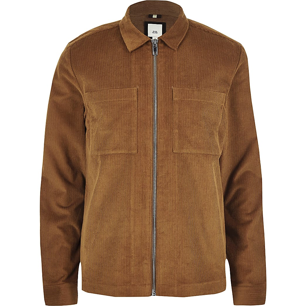 Big and Tall tan cord zip up overshirt