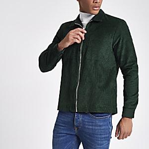 Green corduroy zip-up shacket
