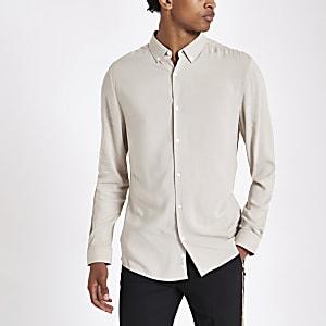 Steingraues Langarmhemd aus Viskose