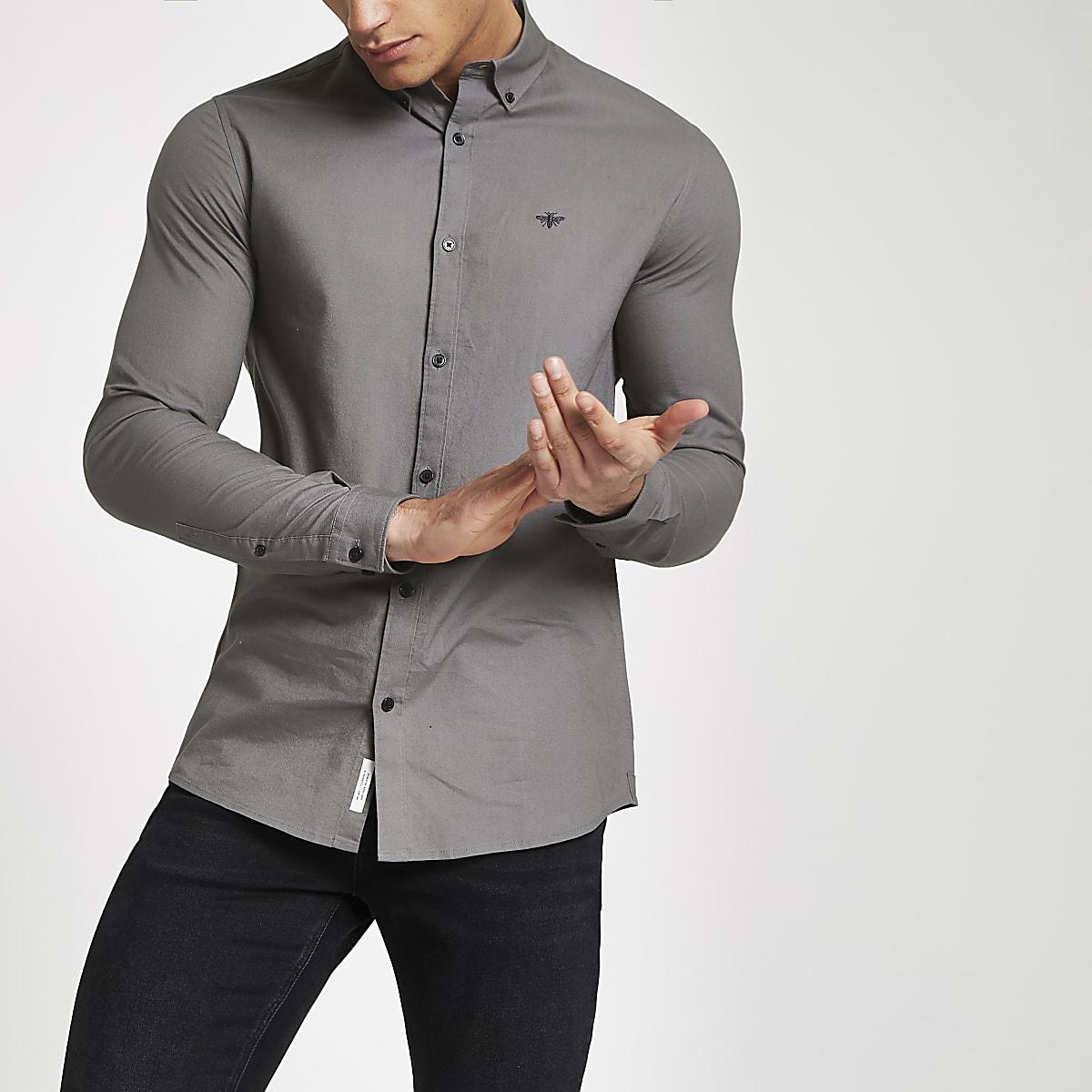 Grijs Overhemd Heren.Grijs Overhemd Met Knoopjes Op De Kraag En Lange Mouwen Overhemden
