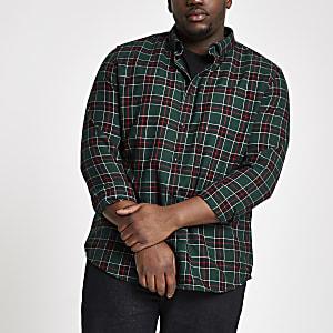 Big and Tall - Groen geruit overhemd met knopen