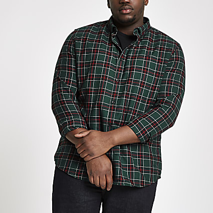 Big and Tall green check button-down shirt