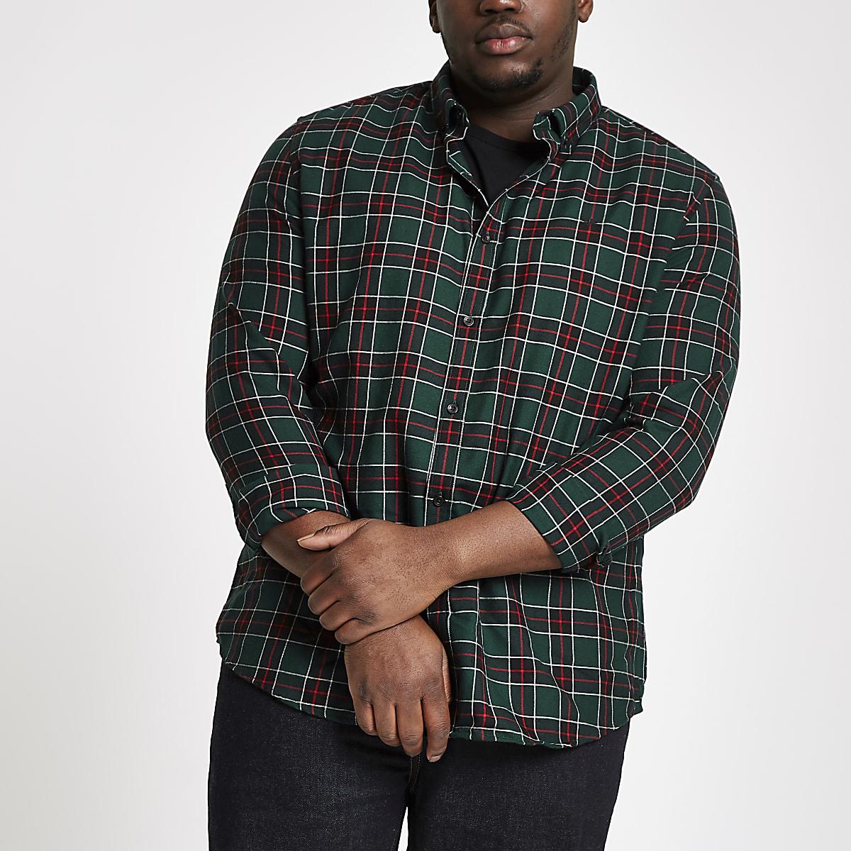 Groen Geruit Overhemd.Big And Tall Groen Geruit Overhemd Met Knopen Overhemden Met