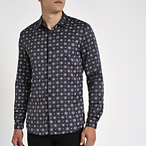Navy geo print satin long sleeve shirt
