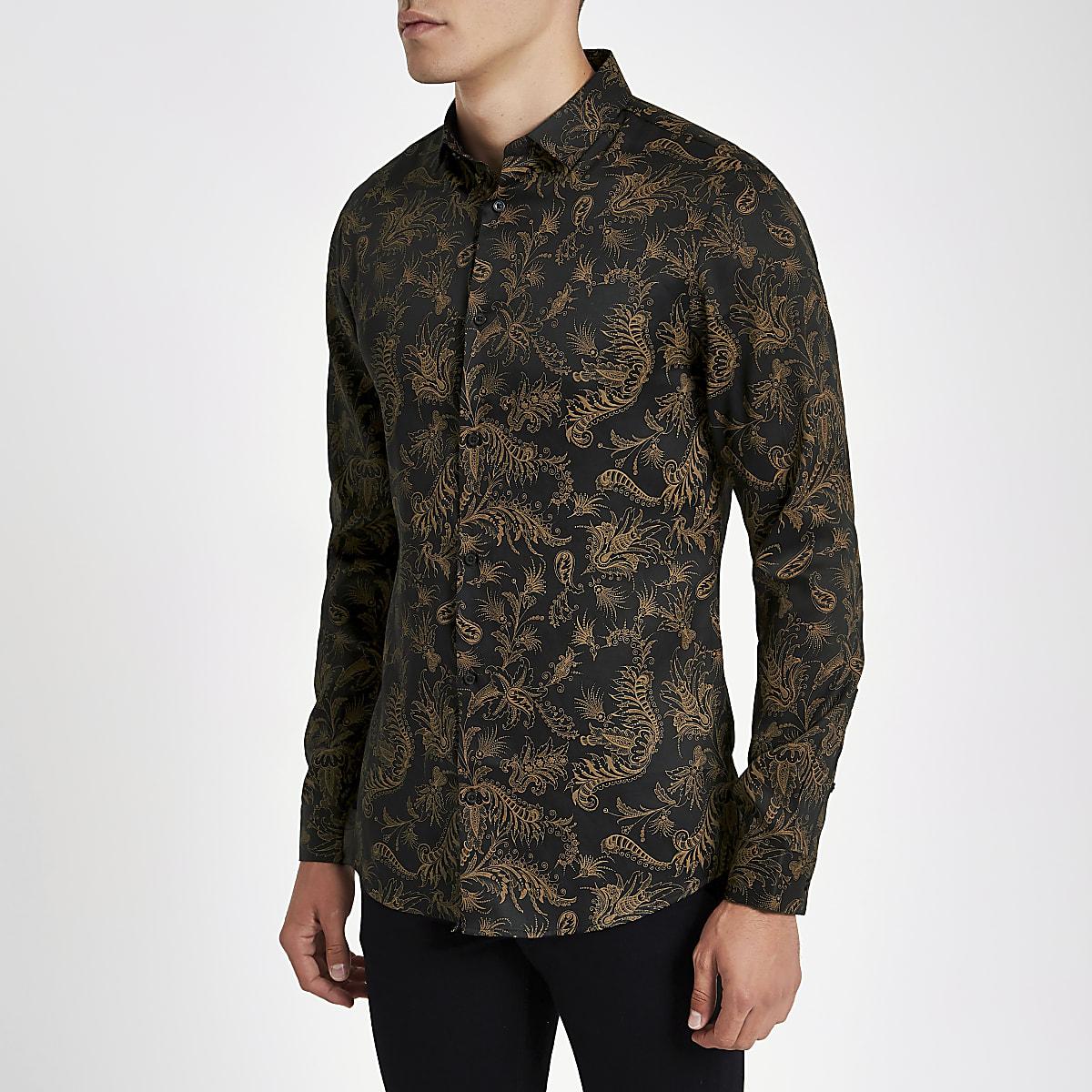 Brown paisley slim fit long sleeve shirt