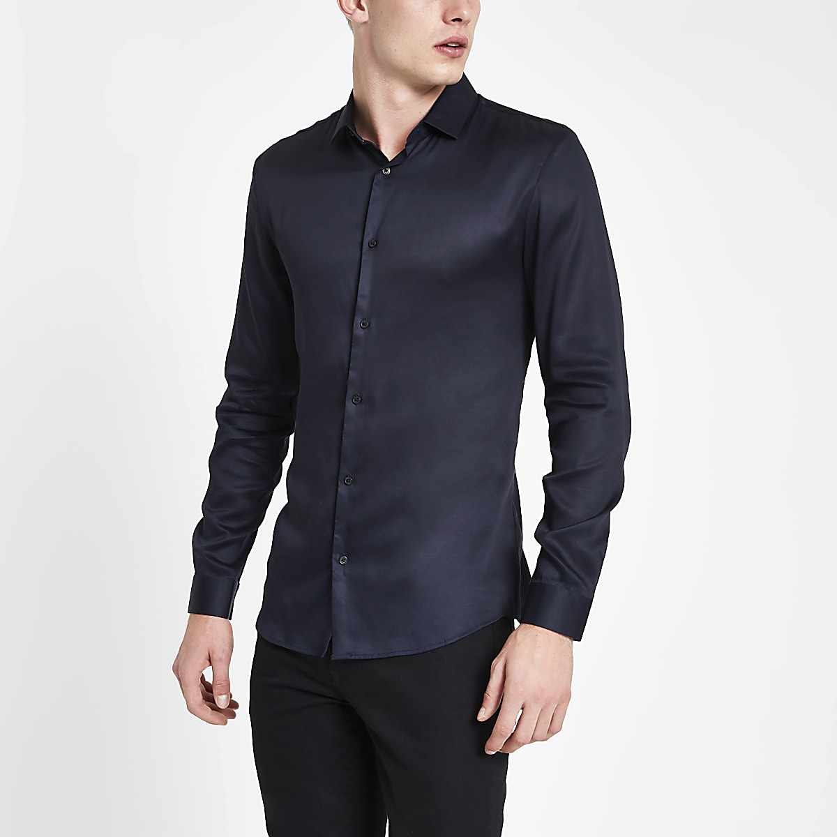 Navy button-down long sleeve shirt