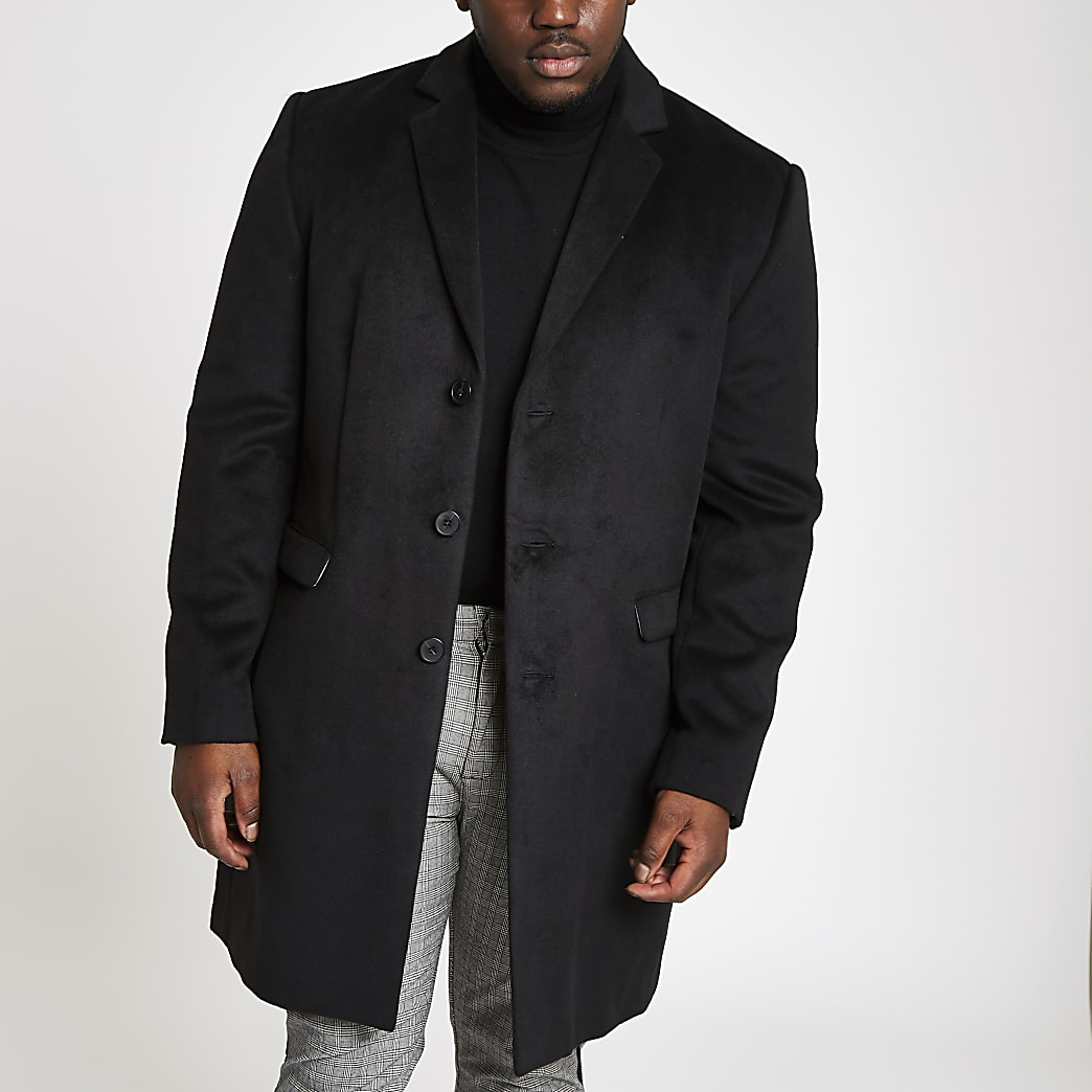 Big and Tall black button-down overcoat