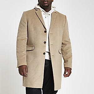 Big and Tall – Pardessus marron clair boutonné