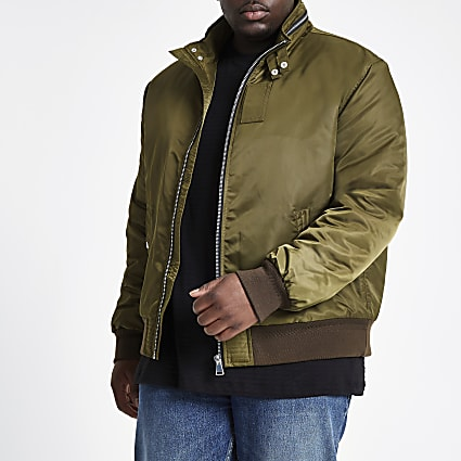Big and Tall khaki racer neck jacket