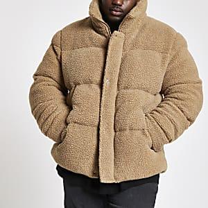 Big and Tall ecru fleece puffa coat