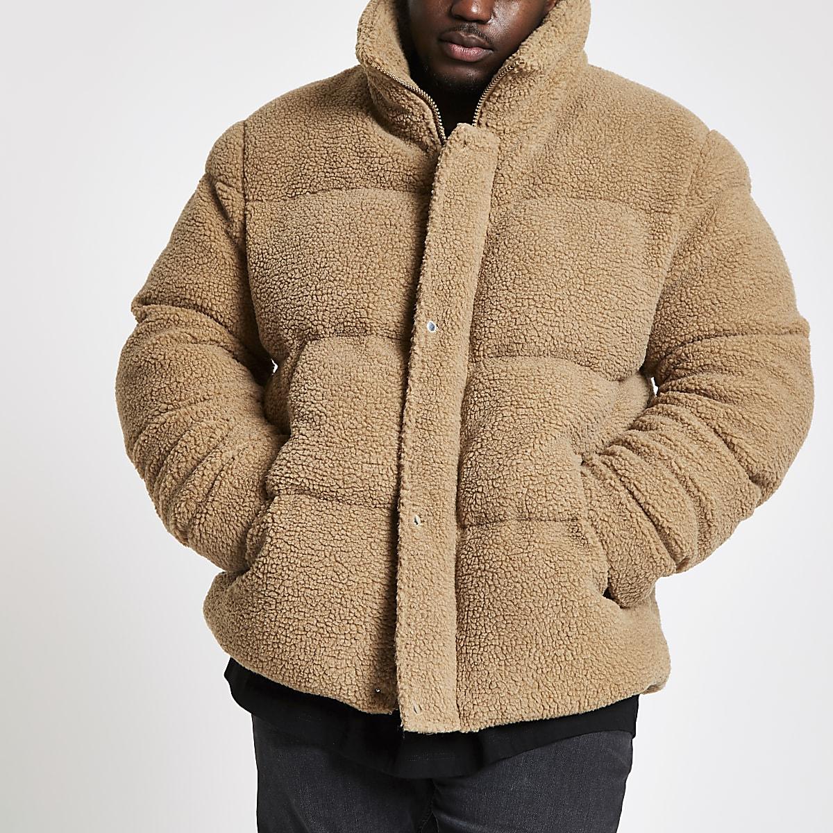 Big and Tall ecru borg puffa coat