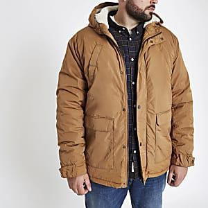 Big and Tall - Zwarte jas van imitatiebont met borgvoering