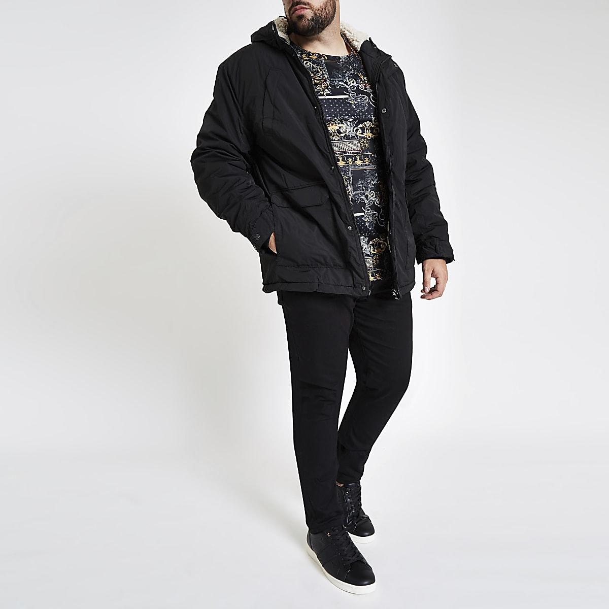 Big and Tall – Manteau à capuche noir avec doublure imitation peau de mouton