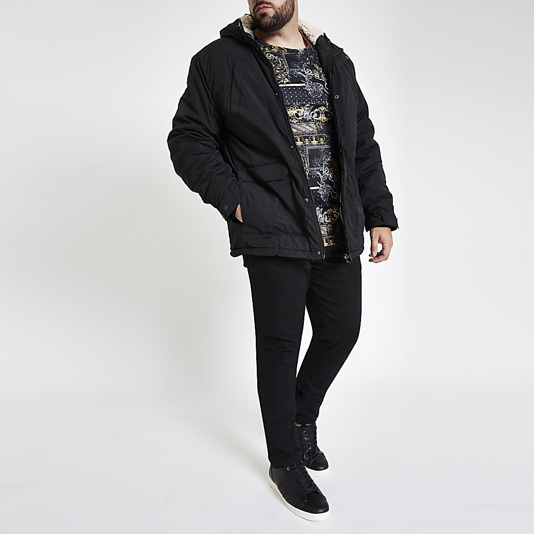 Big and Tall – Manteau à capuche noir avec doublure imitation peau de mouton