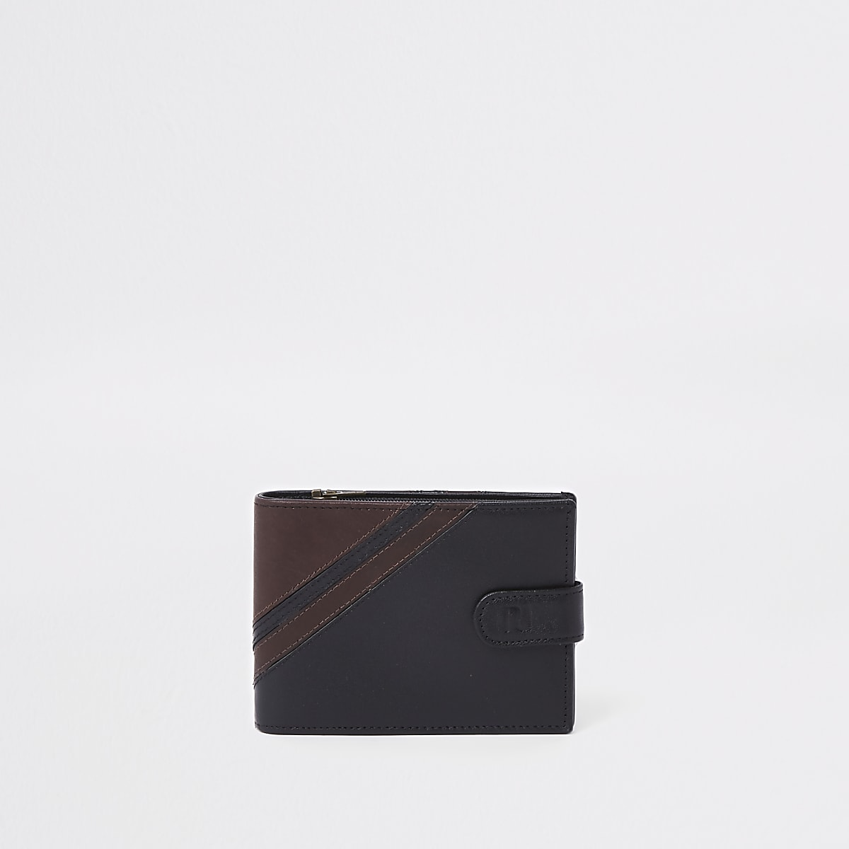 Portefeuille rayé en cuir noir