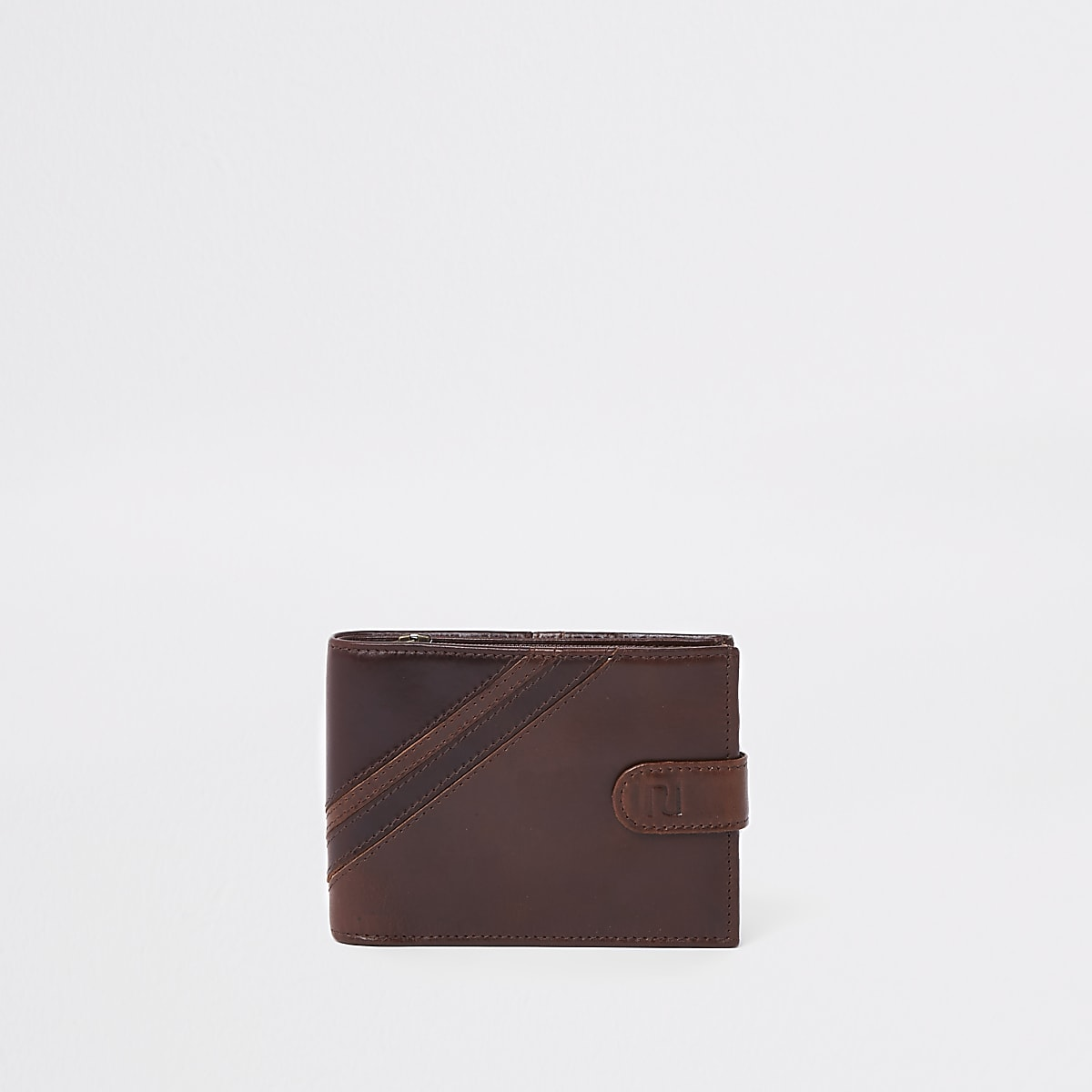 Braune, gestreifte Geldbörse aus Leder