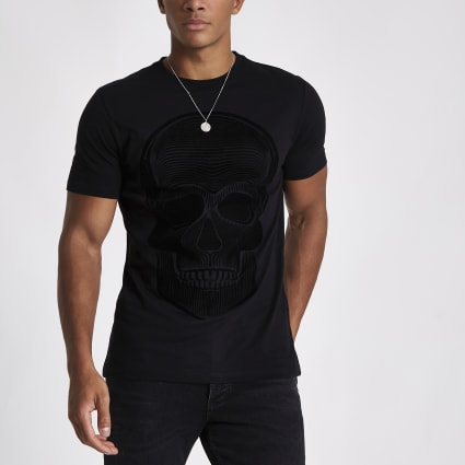 Black skull flock print slim fit T-shirt