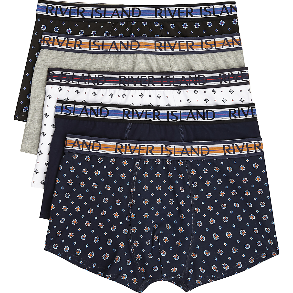 Navy geo print hipsters multipack