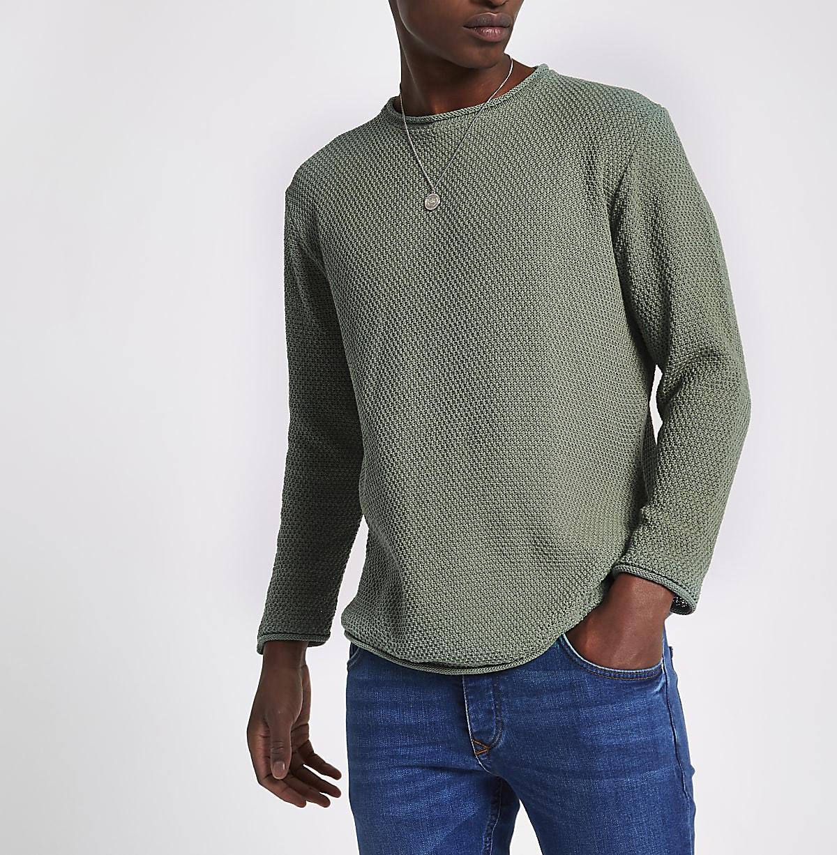 Green knit long sleeve slim fit sweater