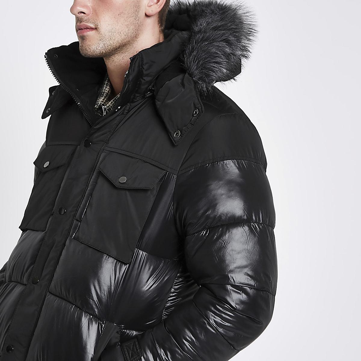 ff66d6c43 Black faux fur trim hooded long puffer jacket