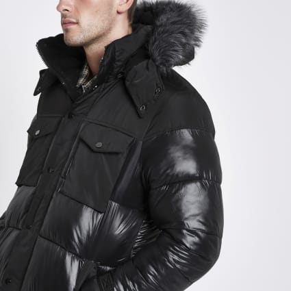 Black faux fur trim hooded long puffer jacket