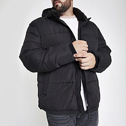 Big and Tall black hooded puffer jacket