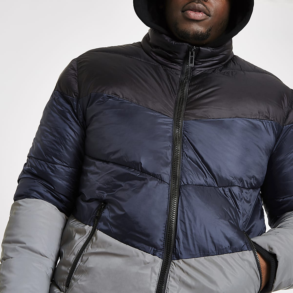 Big and Tall blue reflective puffer jacket