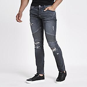 Danny – Jean super skinny bleu foncé style motard