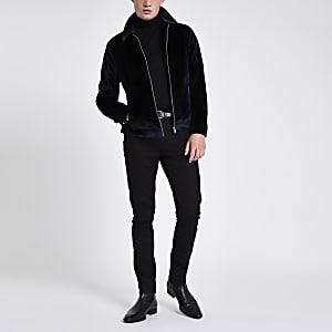 Navy velvet harrington jacket