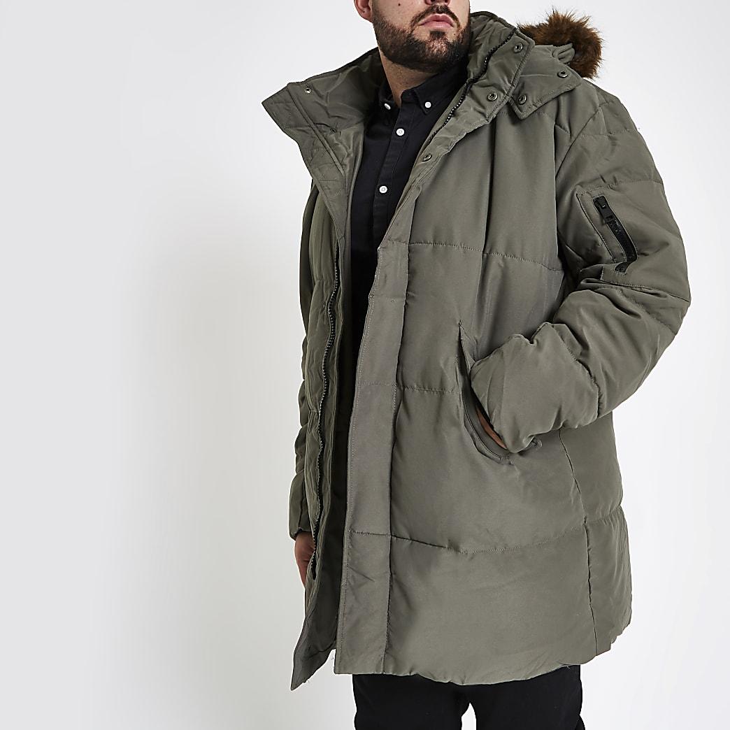 Big and Tall – Doudoune avec capuche en fausse fourrure