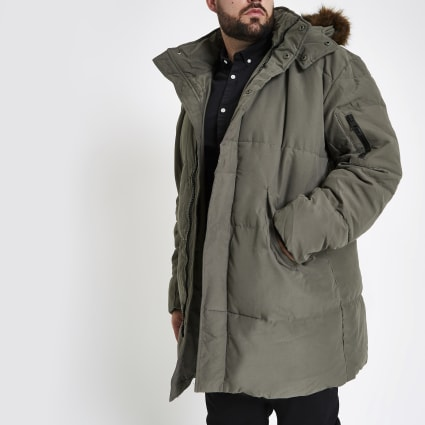 Big and Tall faux fur hood puffer jacket