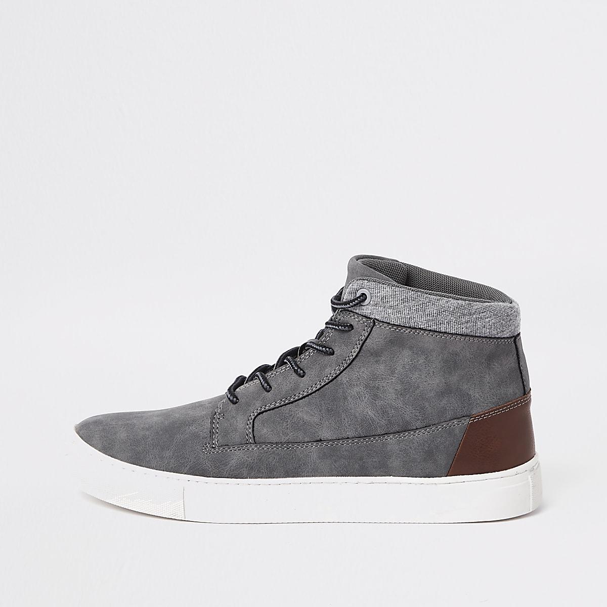 Grey wide fit high top sneakers