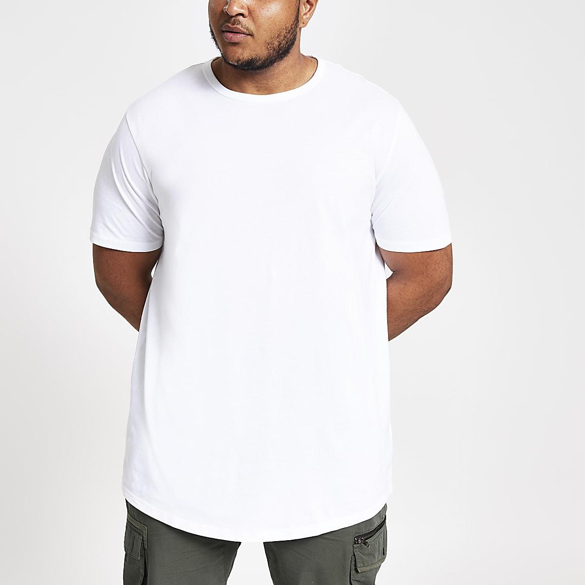 T-shirt Big & Tall blanc à ourlet arrondi