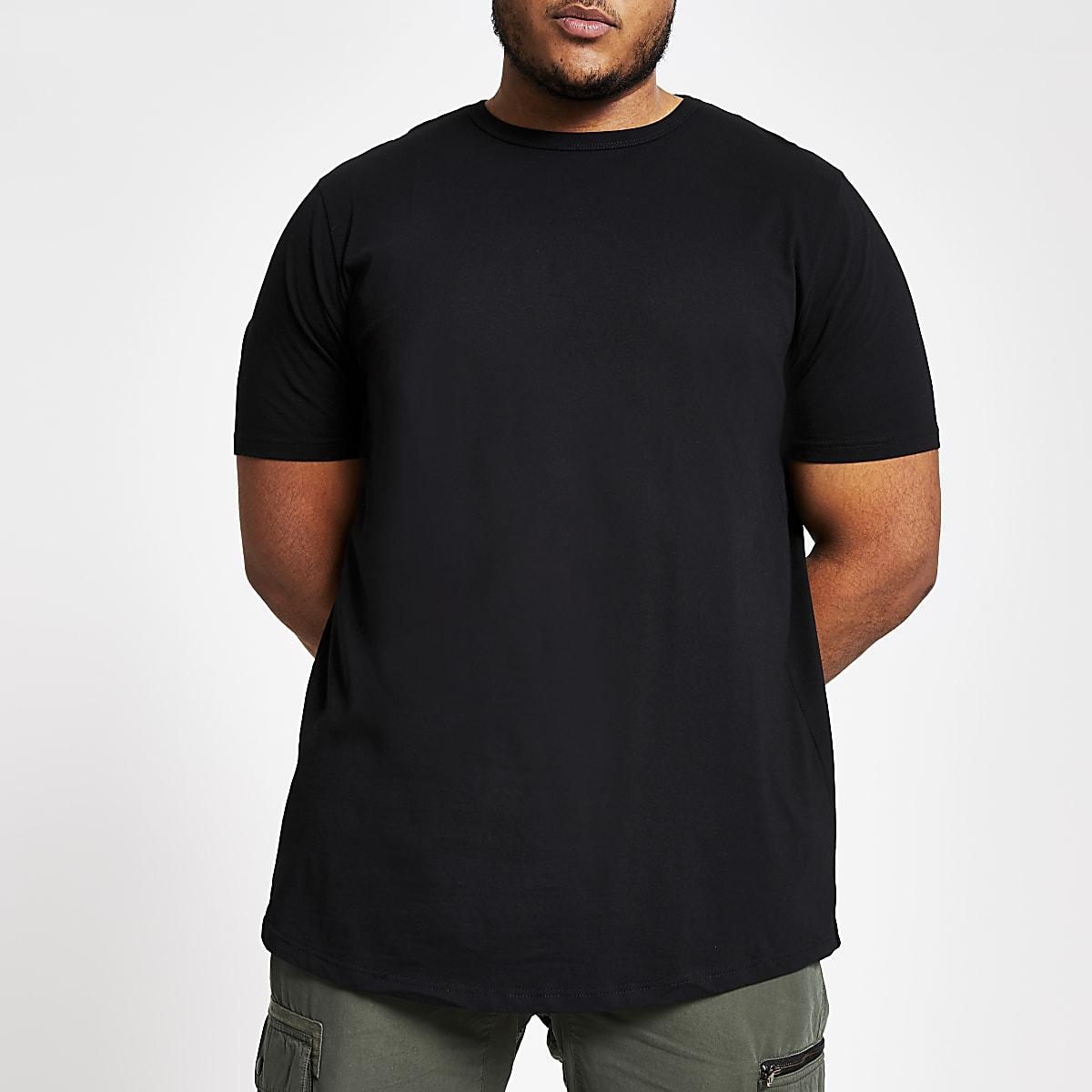 Big & Tall – Schwarzes T-Shirt mit abgerundetem Saum