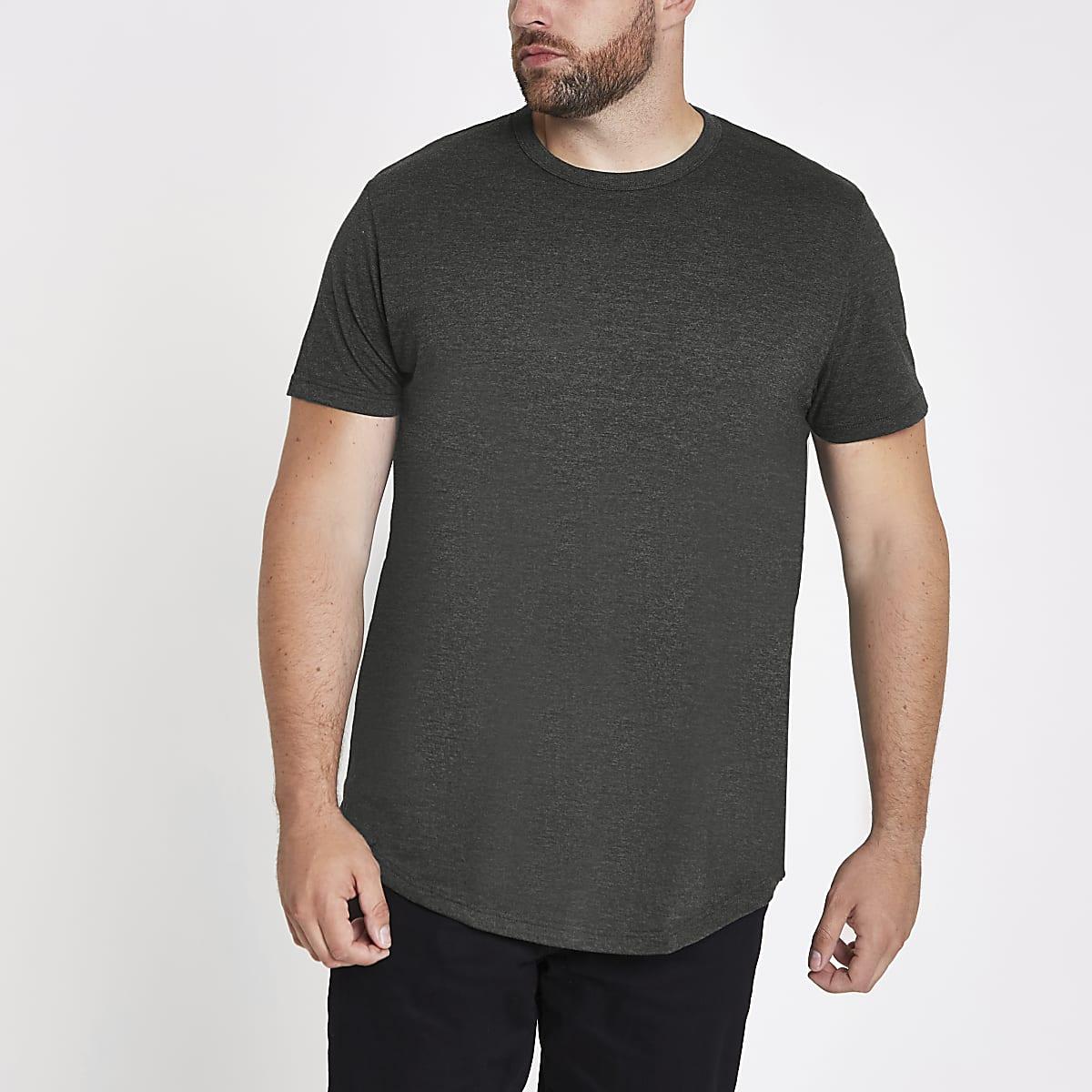 Big & Tall – Dunkelgraues T-Shirt mit abgerundetem Saum