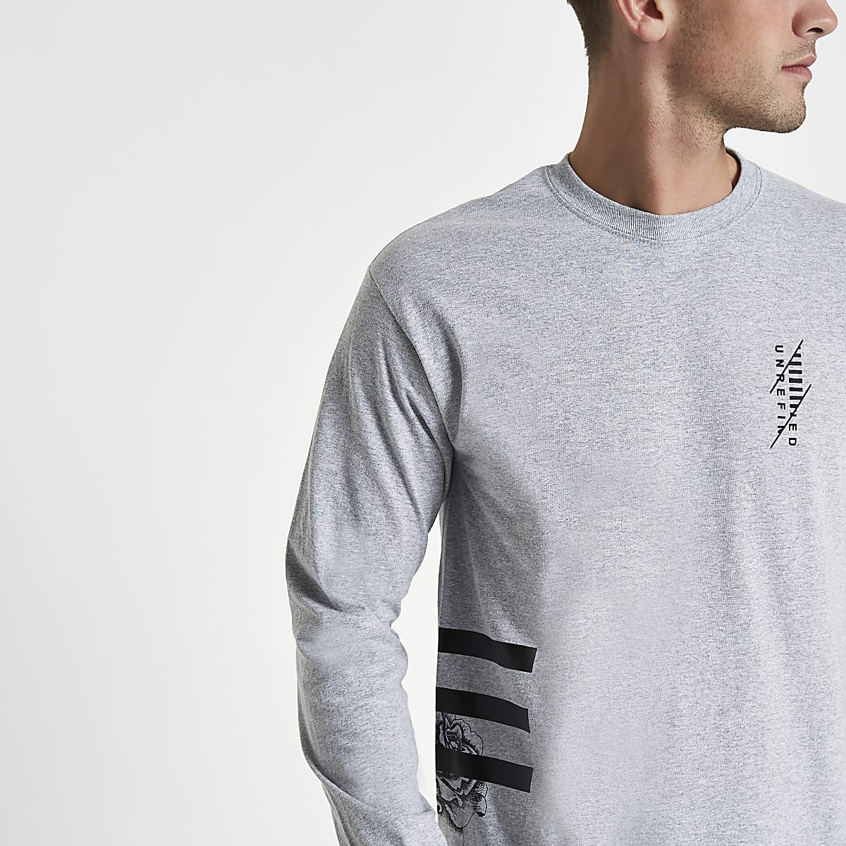 Grey side stripe long sleeve T-shirt