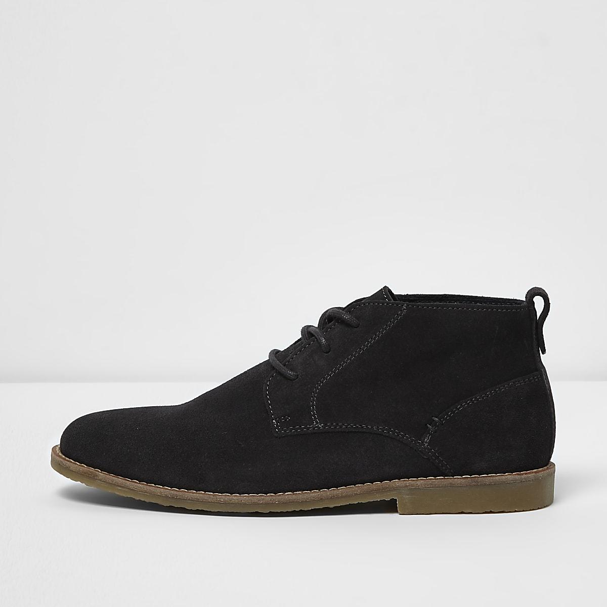 02291311699 Dark grey wide fit suede desert boots - Boots - Shoes   Boots - men