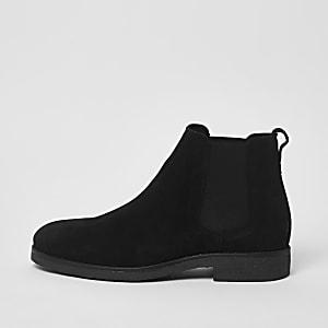 Zwarte suède chelsea boots met brede pasvorm