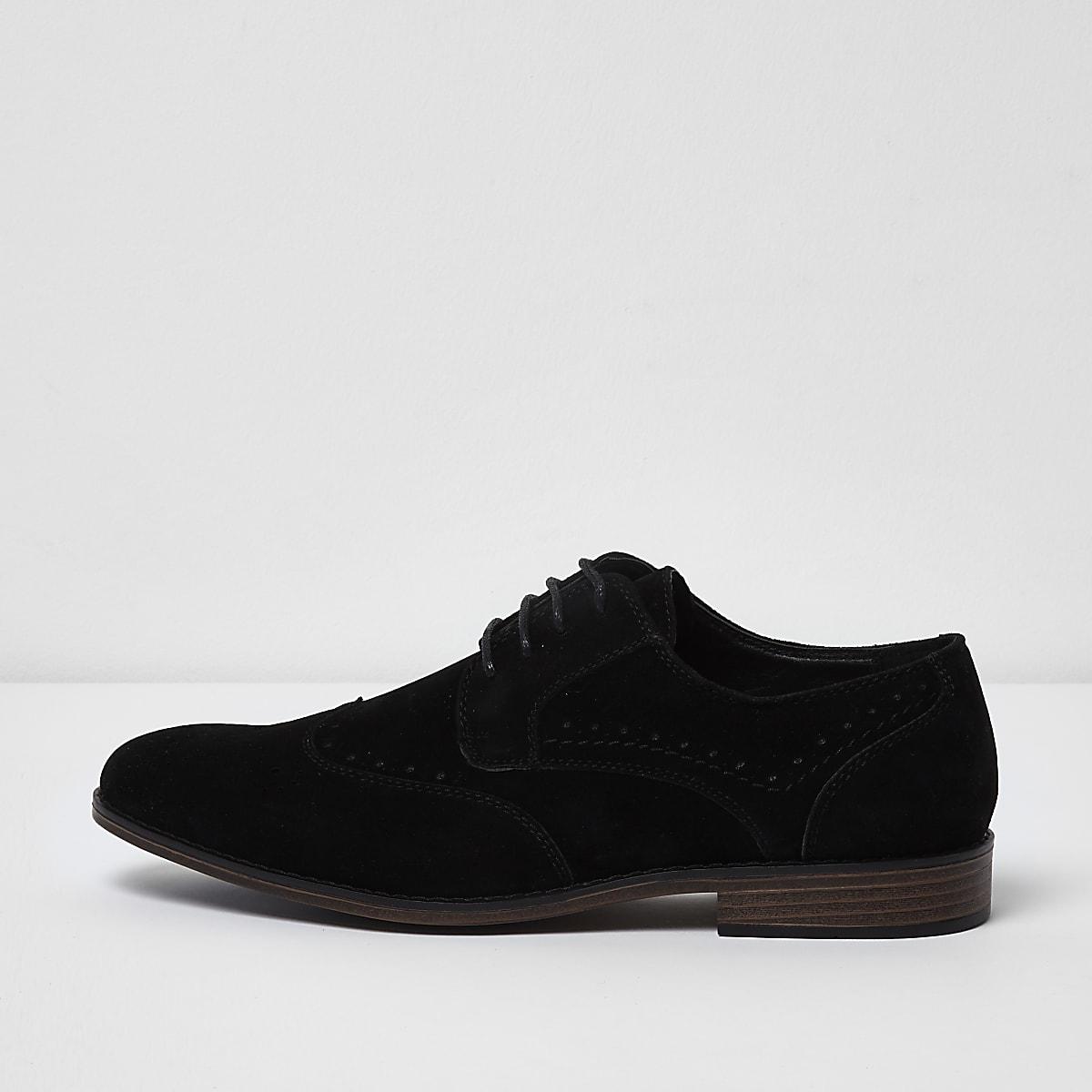 Black wide fit faux suede lace-up brogues