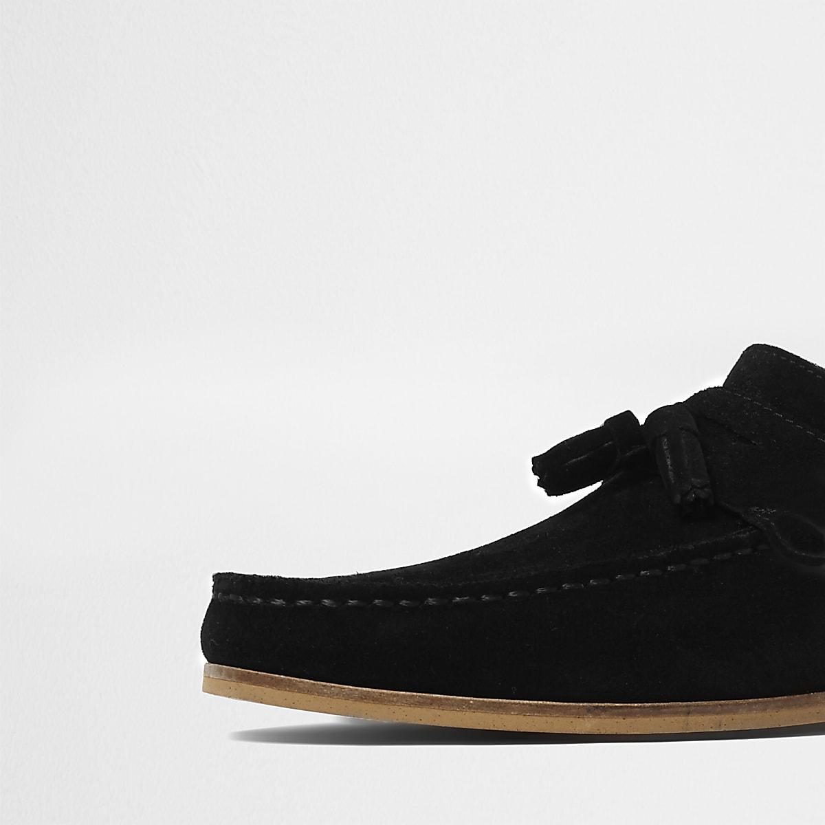 c9fa7c24438 Black wide fit suede tassel loafers - Shoes - Shoes   Boots - men