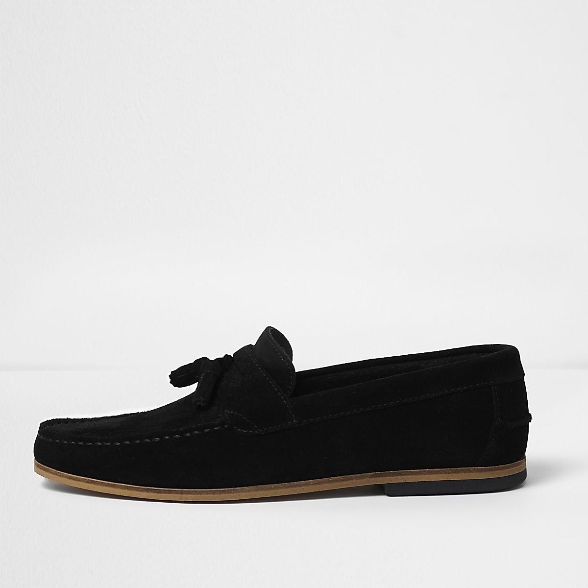 Black wide fit suede tassel loafers
