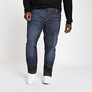 Big and Tall - Donkerblauwe jeans met rechte pijpen
