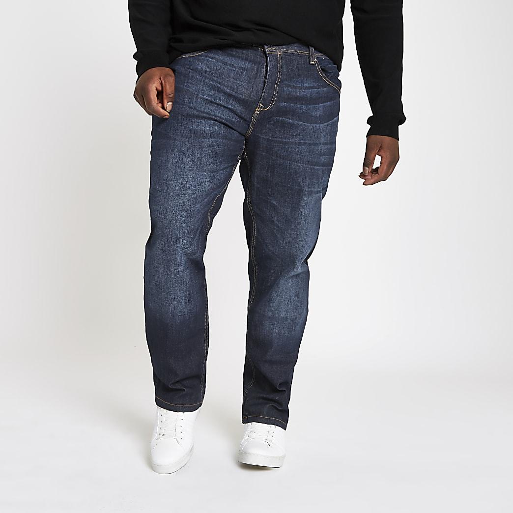 Big and Tall dark blue straight leg jeans