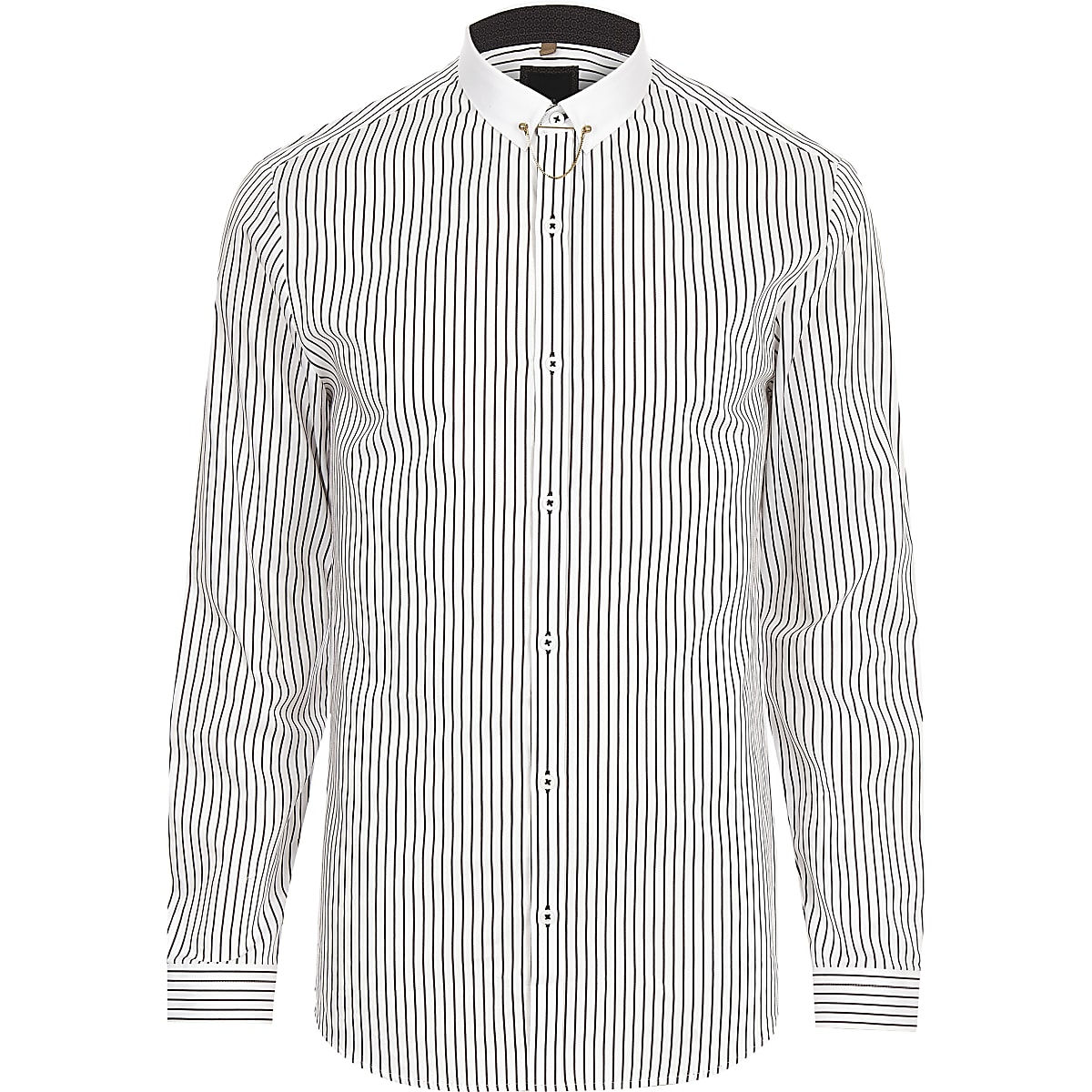 White stripe contrast collar slim fit shirt